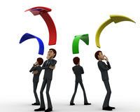 3d men standing with arrow in all for direction concept Royalty Free Stock Image