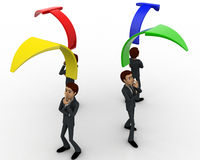 3d men standing with arrow in all for direction concept Stock Image