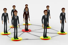 3d men standing on connected network connection concept Royalty Free Stock Photos