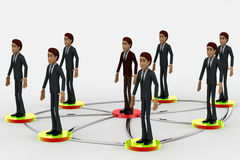 3d men standing on connected network connection concept Stock Photo