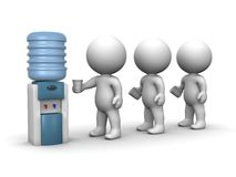 3D Men Standing in Line at Water Cooler Stock Images