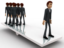 3d men standing seesaw one man on on side and group of men on other side concept Stock Photography