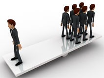 3d men standing seesaw one man on on side and group of men on other side concept Royalty Free Stock Image