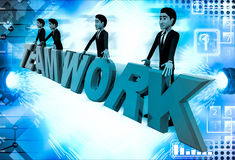 3d men standing with team work text illustration Royalty Free Stock Image