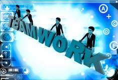 3d men standing with team work text illustration Royalty Free Stock Photos