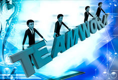 3d men standing with team work text illustration Stock Image
