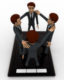 3d men standing on touch screen tablet and doing conference call concept Royalty Free Stock Images