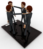 3d men standing on touch screen tablet and doing conference call concept Royalty Free Stock Image