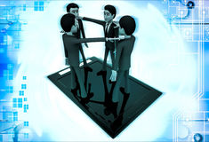 3d men standing on touch screen tablet and doing conference call illustration Stock Image