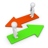 3d men standings on arrows with opposite directions. Royalty Free Stock Images
