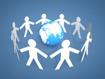 3d men stick figures around a globe. 3d render of men stick figures around a globe Royalty Free Stock Image