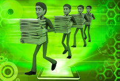 3d men taking files in queue illustration Royalty Free Stock Photography