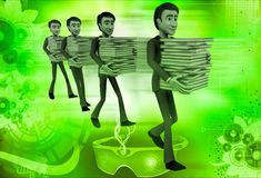 3d men taking files in queue illustration Stock Photo
