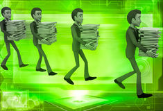 3d men taking files in queue illustration Stock Images