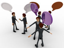 3d men talking with each other and chat bubble concept Royalty Free Stock Images