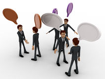 3d men talking with each other and chat bubble concept Stock Photo