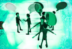 3d men talking with each other and chat bubble illustration Stock Images