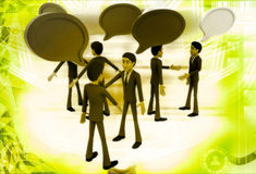 3d men talking with each other and chat bubble illustration Stock Photography