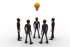 3d men team come up with idea and bulb glows concept Royalty Free Stock Photos