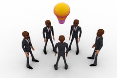 3d men team come up with idea and bulb glows concept Stock Images