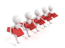 3d men team group carries success red arrows. 3d Royalty Free Stock Images