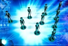3d men team standing in triangular shape illustration Royalty Free Stock Images