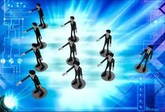 3d men team standing in triangular shape illustration Stock Photos