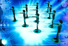 3d men team standing in triangular shape illustration Royalty Free Stock Photography
