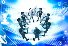 3d men team supprt check symbol to go up illustration Stock Images
