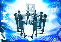 3d men team supprt check symbol to go up illustration Royalty Free Stock Photo