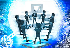3d men team supprt check symbol to go up illustration Royalty Free Stock Image