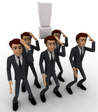 3d men thinking in stress and with exclamation mark concept Stock Photography