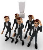 3d men thinking in stress and with exclamation mark concept Stock Images