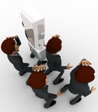 3d men thinking in stress and with exclamation mark concept Stock Photos