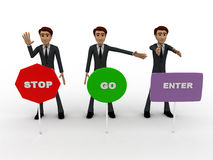 3d men with with three sign board stop, go and enter concept Stock Photography