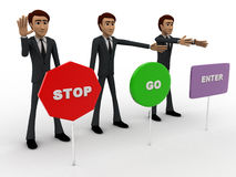 3d men with with three sign board stop, go and enter concept Stock Photos