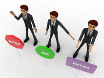 3d men with with three sign board stop, go and enter concept Stock Photo