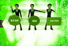 3d men with with three sign board stop, go and enter illustratio Stock Photo