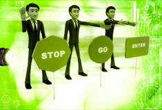3d men with with three sign board stop, go and enter illustratio Royalty Free Stock Photography