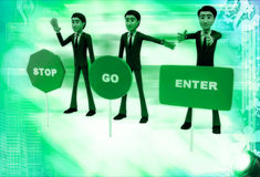 3d men with with three sign board stop, go and enter illustratio Royalty Free Stock Photo