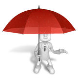 3D Men to avoid a red umbrella in rain. 3D Square Man Series. Stock Photography