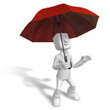 3D Men to avoid a red umbrella in rain. 3D Square Man Series. Stock Image