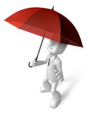 3D Men to avoid a red umbrella in rain. 3D Square Man Series. Royalty Free Stock Images