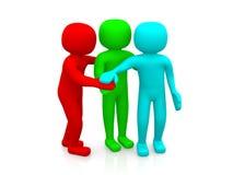 3d men together. Business team joining hands concept. 3d men red, green and blue together. Business team joining hands concept Stock Image