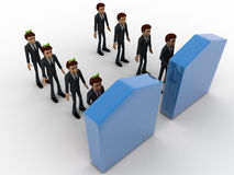 3d men in two queue lead to two different doors concept Royalty Free Stock Images