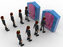 3d men in two queue lead to two different doors concept Royalty Free Stock Photo