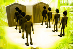 3d men in two queue lead to two different doors illustration Royalty Free Stock Images