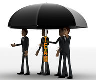 3d men under umbrella with team text concept Royalty Free Stock Images