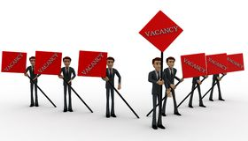 3d men with vacancy banner in hand concept Royalty Free Stock Photography