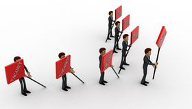 3d men with vacancy banner in hand concept Royalty Free Stock Images